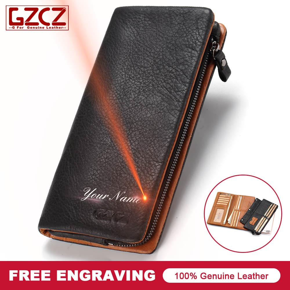 Brand New Men Genuine Leather Wallet Fashion Design 3 Size Black Color Custom Made Wallets Gift For Boyfriend Carteira Masculina