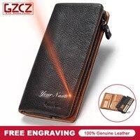 Brand New Men Genuine Leather Wallet Fashion Design 3 Size Black Color Custom Made Wallets Gift