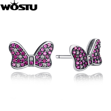 Actual 925 Sterling Silver  Minnie's Glowing Bow Stud Earrings  For Girls Appropriate with Jewellery Genuine Style Reward