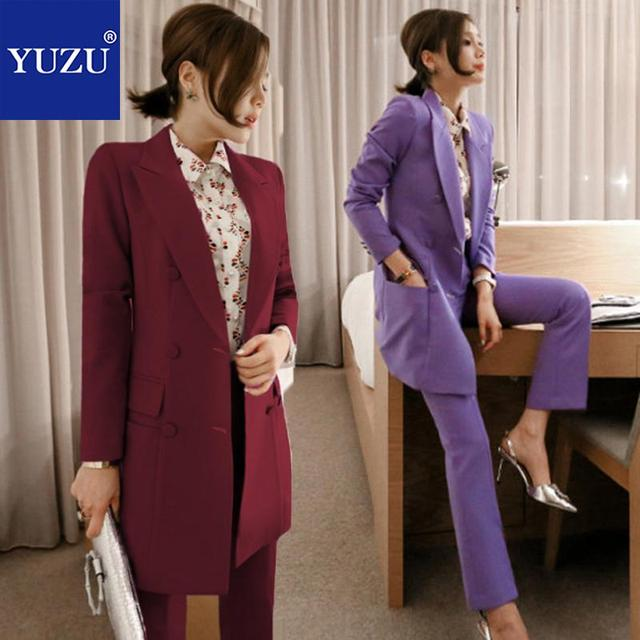 Pants Suits Elegant Woman Violet Wine Red Matching Sets Long Blazer Double-breasted Turn-down Collar Jacket Long Sleeve Jacket