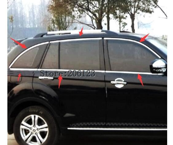 For Lifan X60 2011 2012 2013 2014 2015window frame/cover/trim,stainless steel,great up+down+front trinagle+rear triangle ershi shier car styling stainless steel full window trim decoration door side strips for lifan x60 2011 2012 2013 2014 2015 auto