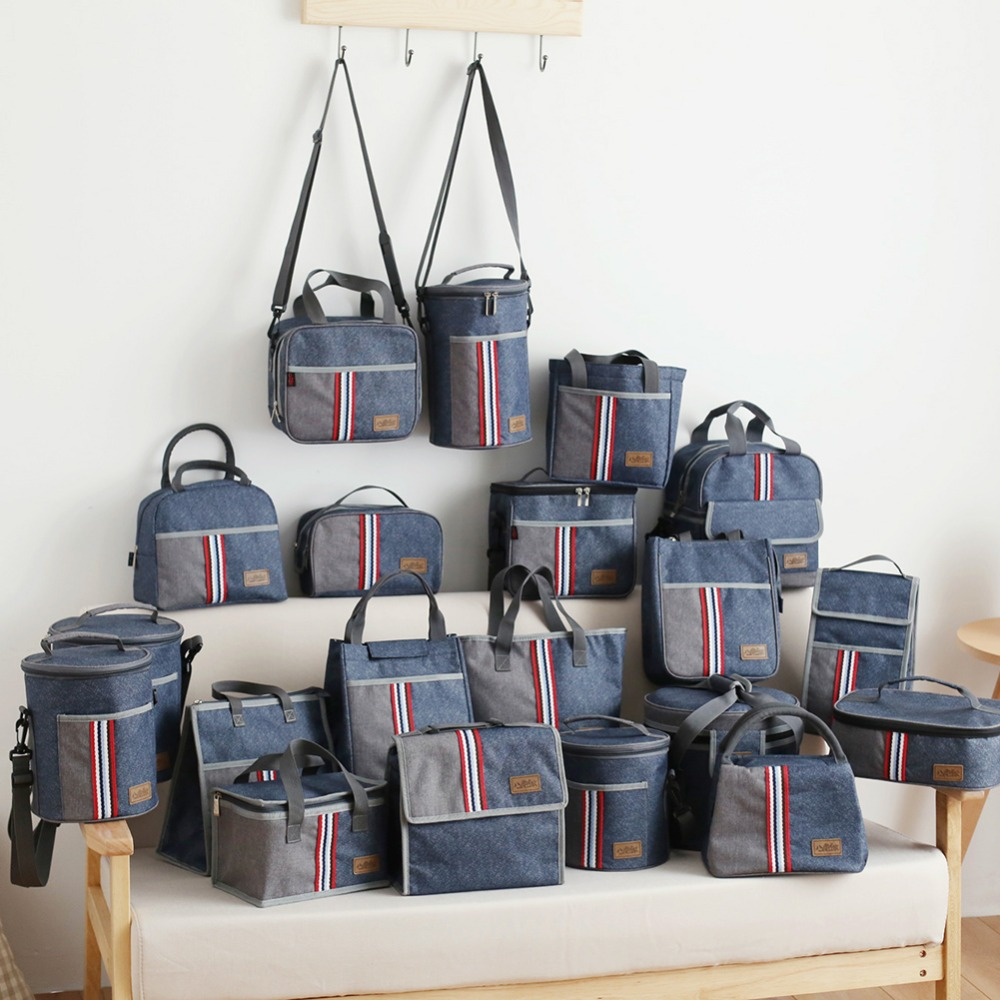 Denim lunch bag box thermo food insulated picnic bag kids thermal bag for women or men insulated cooler thermos