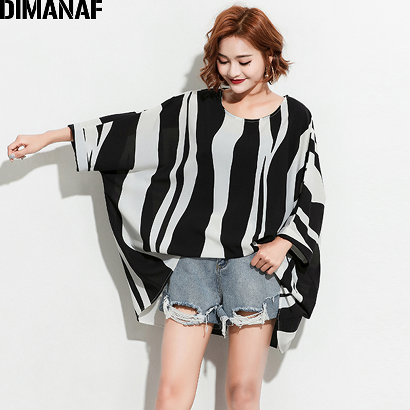 DIMANAF Women Summer   Blouse     Shirts   Plus Size Print Striped Black Batwing Sleeve Female Loose Oversized Tops Large Clothing 2018
