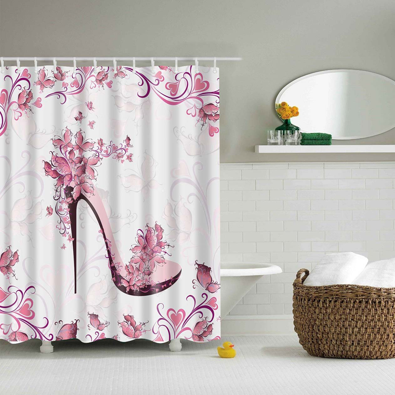 Flower Waterproof Shower Curtain Waterproof Polyester Fabric Bath Bathing Bathroom Curtains with 12 Hooks for Home