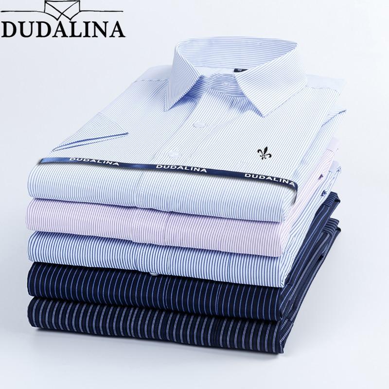 Dudalina 2019 Summer Men's Shirt Short Sleeved Plaid Striped Fashion Work Casual Shirt Man Formal Shirt Camisa Social Masculi