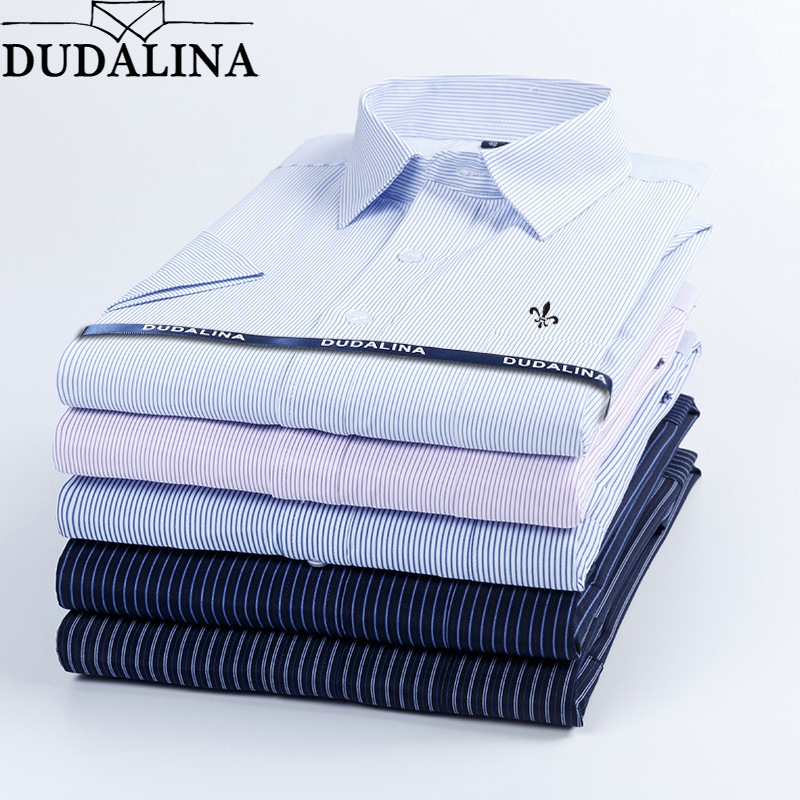 Dudalina 2019 Summer Men's Shirt Short Sleeved Plaid Striped Fashion Work Casual Shirt Man Formal Shirt Camisa Social Masculi