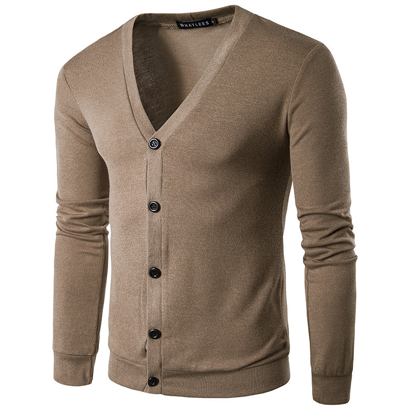 A New Simple Men Leisure Fashion Pure Color V-neck Cardigan Knitting Sweater