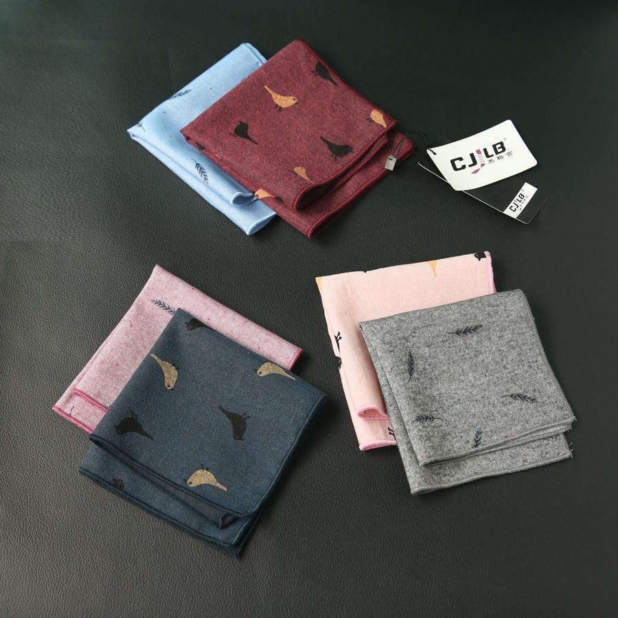Men's And Women Fashion Casual Suit Handkerchiefs Pocket Square Cotton Cartoon 24x24cm 10pcs/lot