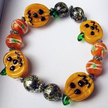 Custom hand blown Munuola glass crafts Halloween Pumpkin Figurine birthday party creative bracelet jewelry accessories