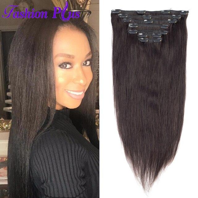 Fashion Plus Clip In Human Hair Extensions Machine Made Remy Hair