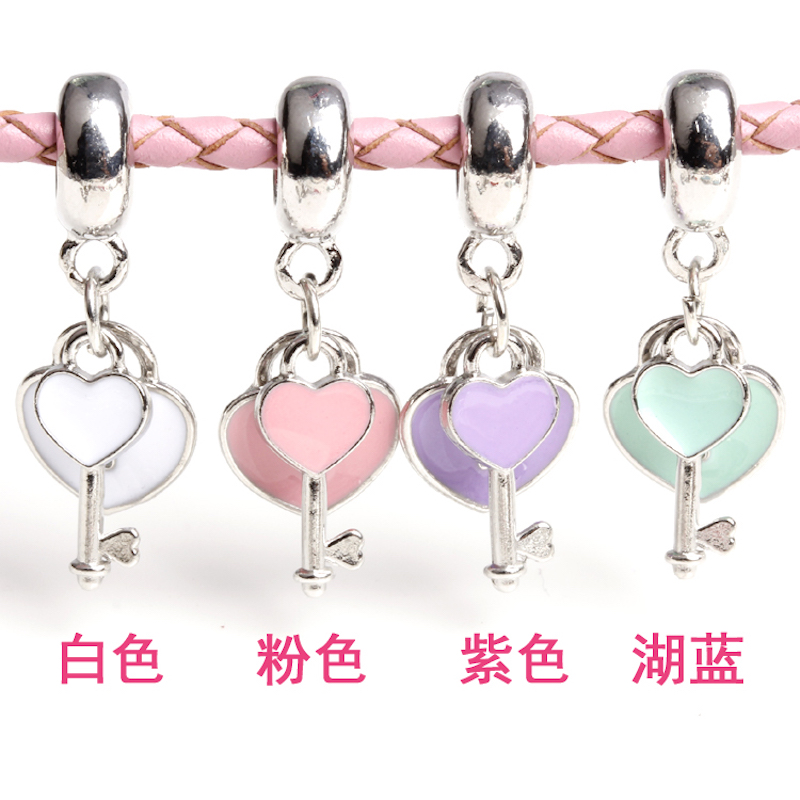 10pcs/lot silver heart lock and key Charm for bracelet Pendant necklace Tag Enamel hair accessories DIY jewelry