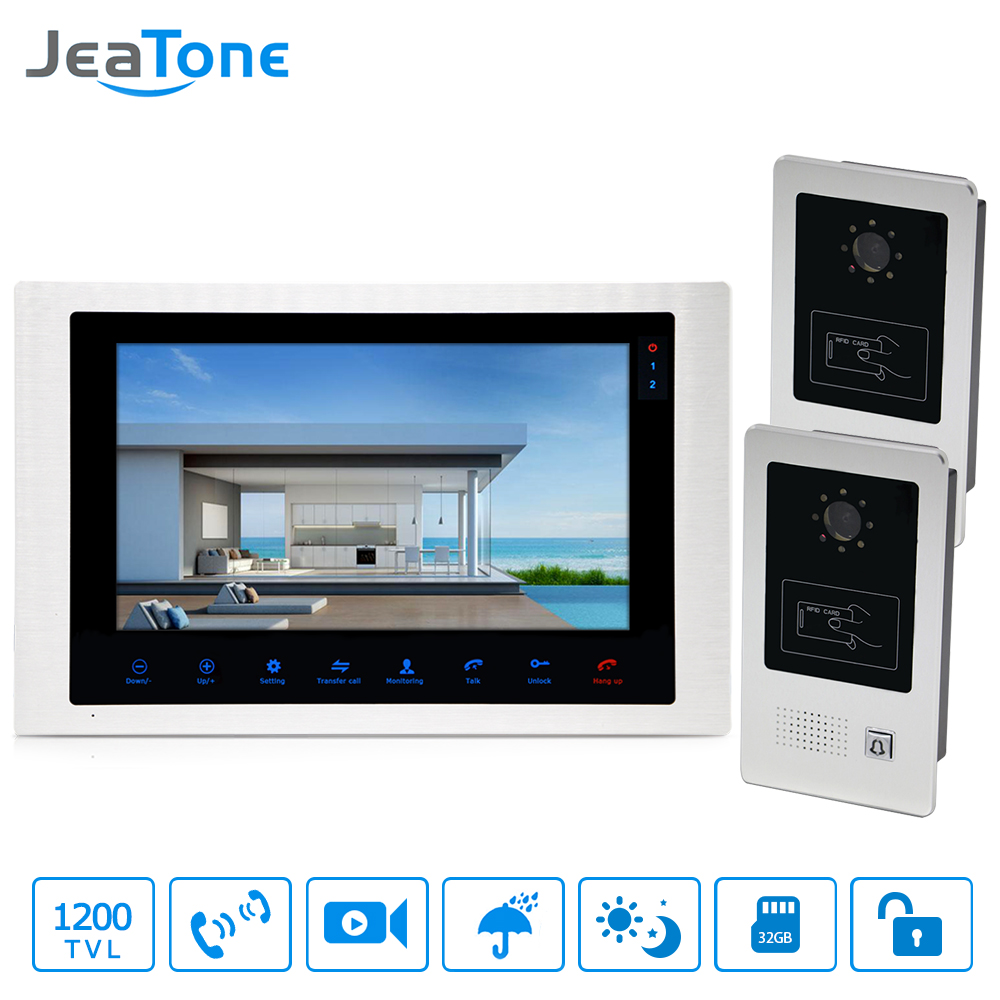 10'' Video Door Phone Home Video Intercom 4-Wired Doorbell Monitor Intercom Waterproof Wide View Angle Call Panel/RFID Card 2-1