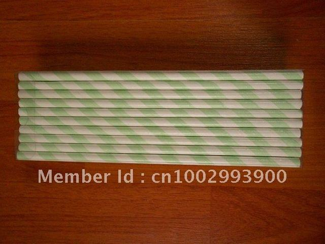 Paper Drinking Straws With Stripe Light Green & White and PET 50pcs Packaging