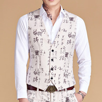 Men's Slim Fit Suit Vests Fashion Paisley Print Men Vest Waistcoat Colete Nightclub DJ Singer Stage Gilet Dress Vests 5XL