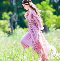 Summer New Original Design Women Vintage&Retro Greek Goddess Elegant Fairy Chiffon Long Dress