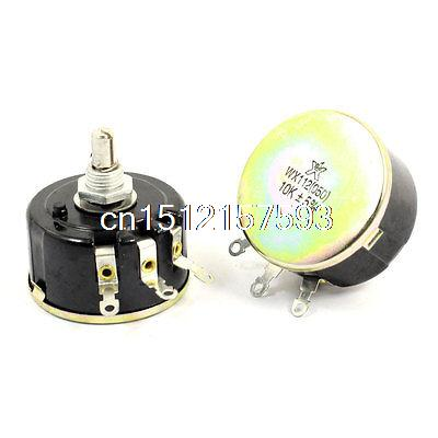 Round Shaft 5W 10K Ohm Variable Resistor Wirewound Potentiometer WX112(050) 2pcs