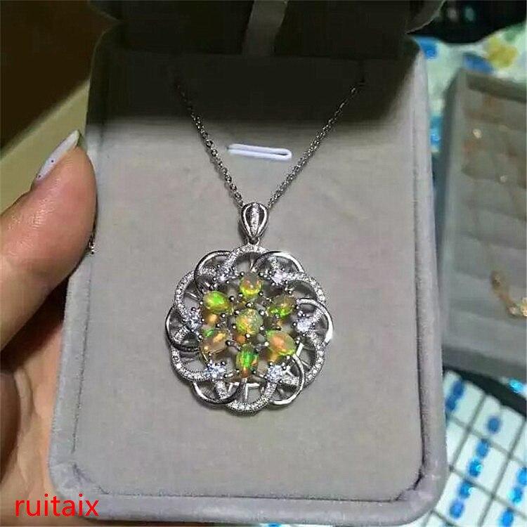 KJJEAXCMY boutique bijoux 925 sterling argent incrusté avec pierre naturelle opper collier pendentif argent couleur. LOÏK