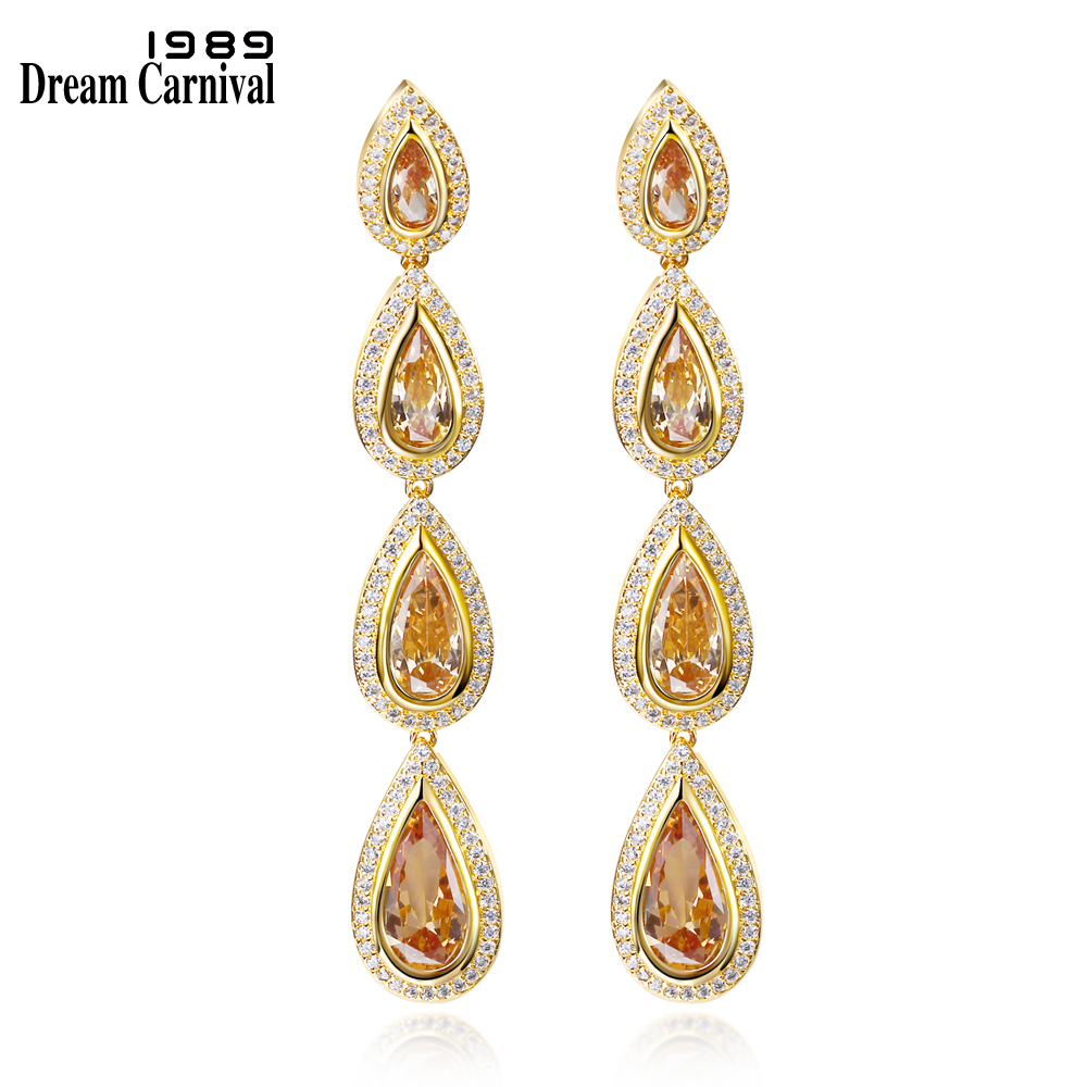 DreamCarnival1989 Long Tear Drop Earrings For Women Green Blue Red Purple CZ Rhodium Gold Color Wedding Jewelry Boucle Doreille