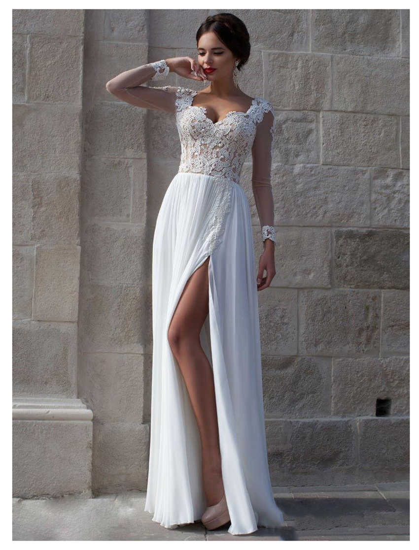 Boho Wedding Dress Sweetheart Appliques Chiffon Bride Dress Custom Made Side Split Wedding Gown Free Shipping 2019