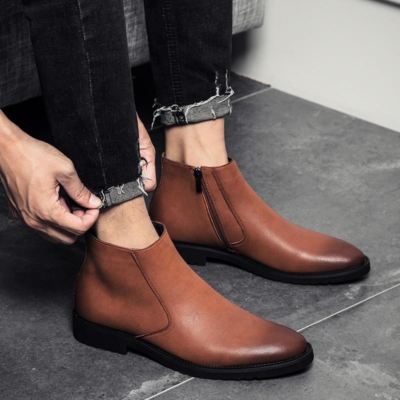 Moda Sapatos Chelsea Tornozelo Estilo grey Casuais marrom Macio Britânico inverno Homens De Dos Couro Outono Brogues Botas Preto brown Negócios cinza Black xaqw8z