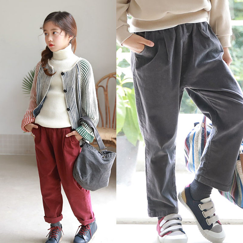 Children's Harun Pants Corduroy Large Size Pure Color Warm New comfortable For girls In 2018