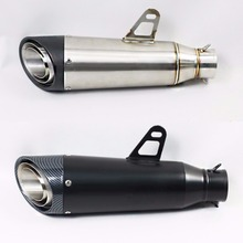цены 60mm New Motorcycle Exhaust Muffler Black/Titanium Modified Pipe Scooter Racing Exhaust For Yamaha R1R3 CB600 Z900 SC030