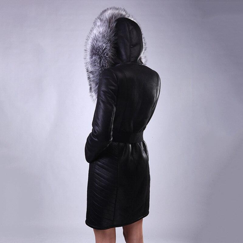 Et Manteau De Amérique Moyen 3d Du En Zipper Imprimer brown Longueur Taille Cuir Femmes Renard Black Fourrure Veste Europe Col Femelle Grande zEdxq