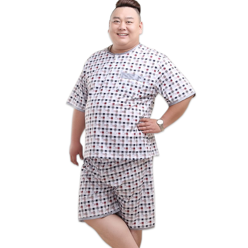 Plus Size XXXXXL Shorts Male Pajamas Sets Short Sleeves Summer Pijama Sleepwear Sexy Plaid Night Suit Mens Pyjamas 140KG 5XL