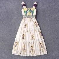 Bloem applicaties schouderbanden vogel borduurwerk jacquard top lace versieringen chiffon zomer dress 2017 runway womens vakantie jurken