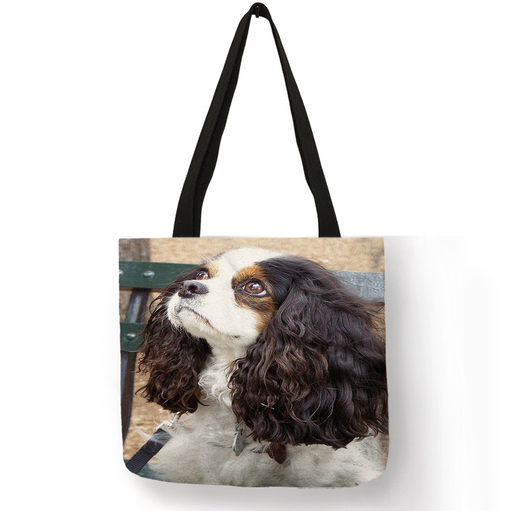 Custom Cute Charles Spaniel Dog Prints Tote Bag For Women Ladies Handbag Reusable Large Shopping Diaper Bags
