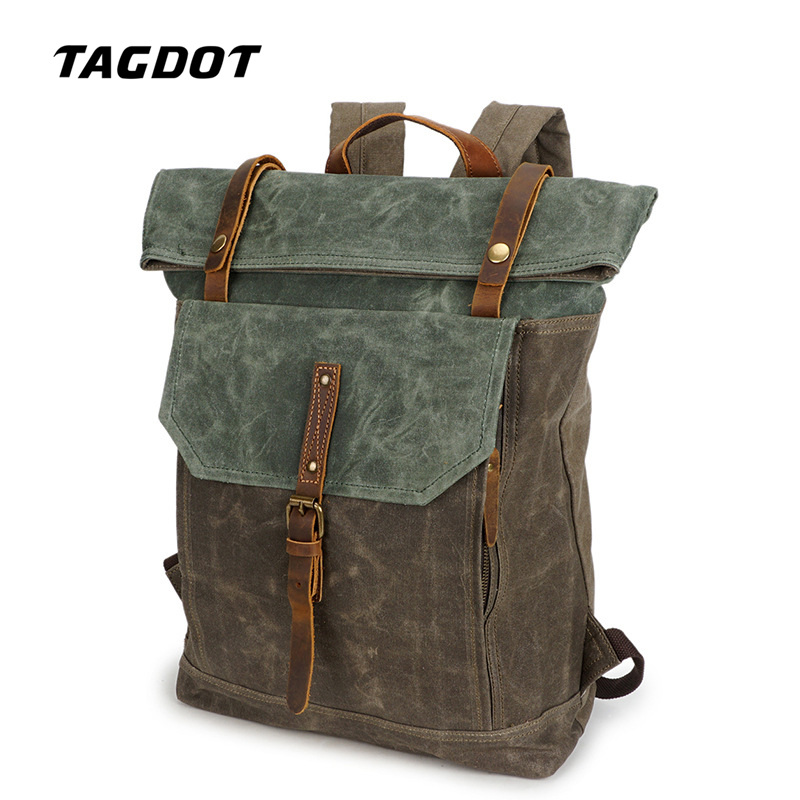 Tagdot brand Canvas Laptop Backpack bag 14 13.3 inch Artcraft Retro Notebook Back pack Men Genuine Leather Accessories 2018