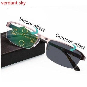 307242143b Gafas de sol de aleación de titanio transición gafas de lectura  fotocrómicas para hombres hiperopía presbicia con gafas de presbicia
