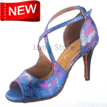 New Free Shipping Blue Snakeskin Open Toe Dance Shoe Ballroom Salsa Ceroc Tango Bachata Dancing Dance