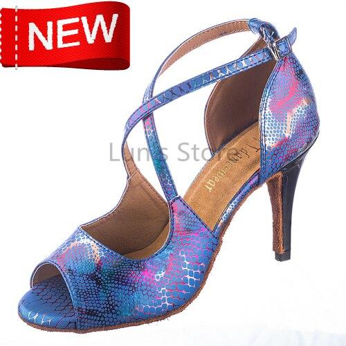 New Free Shipping Blue Snakeskin Open Toe Dance Shoe Ballroom Salsa Ceroc Tango Bachata Dancing Dance Shoes ALL Size