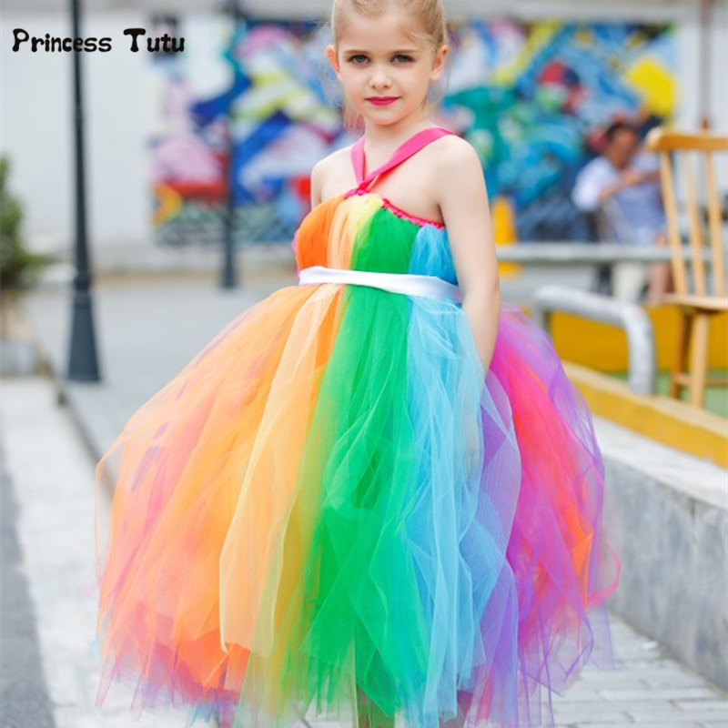 New Girls Rainbow Tutu Dress Tulle Flower Girl Princess Dress Girls Party Wedding Prom Pageant Dresses Kids Evening Gowns