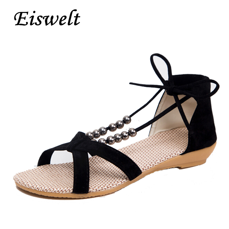 Women Sandals 2017 Hot Gladiator Style Open Toe Beading Flats Brand New Summer Shoes Woman  Size 35-40 #HDS20 phyanic summer style shoes woman 2017 new gladiator sandals platform flats fashion creepers women flat shoes 3 colors phy4044