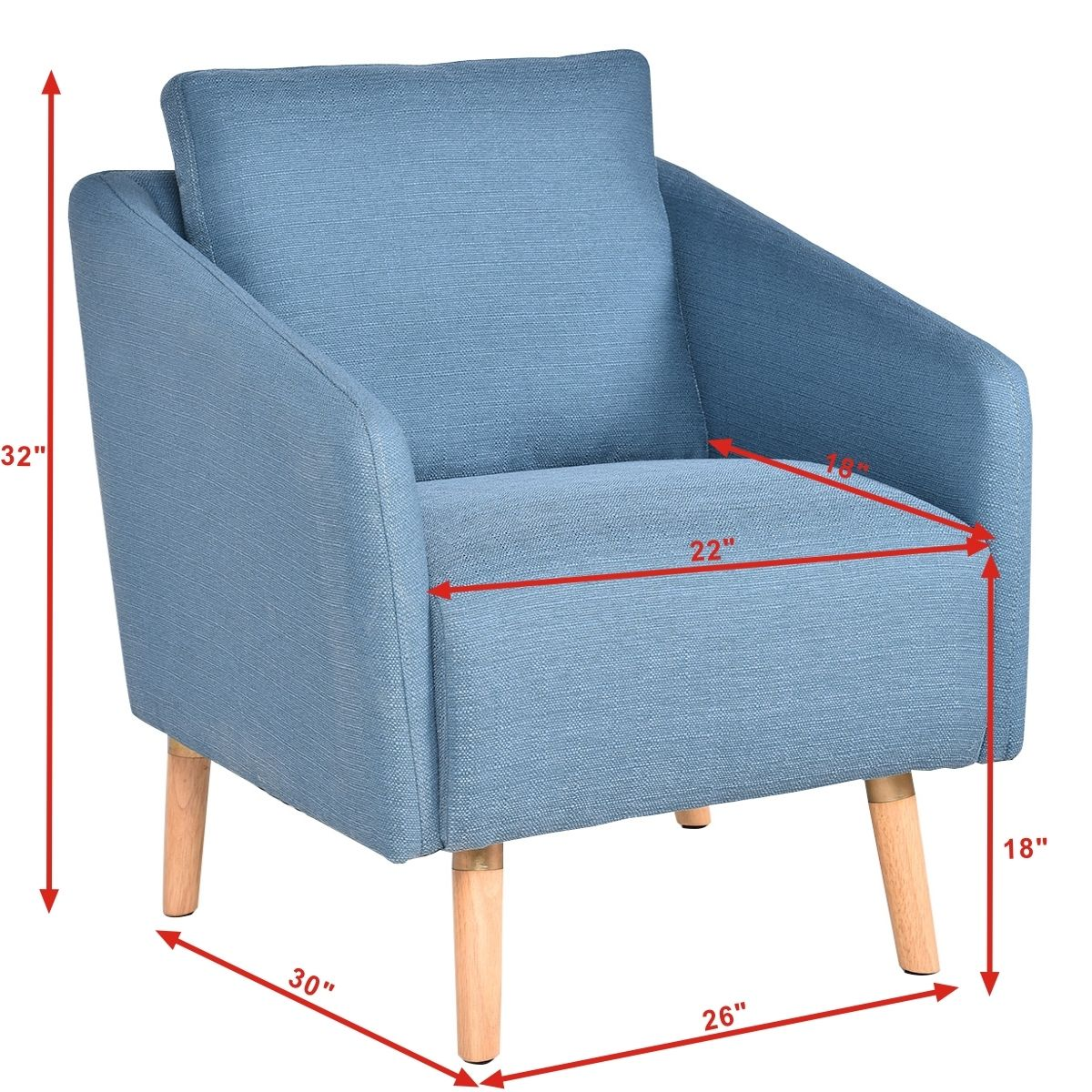 Giantex living room accent leisure chair modern fabric upholstered arm chair single sofa chairs home furniture hw54386
