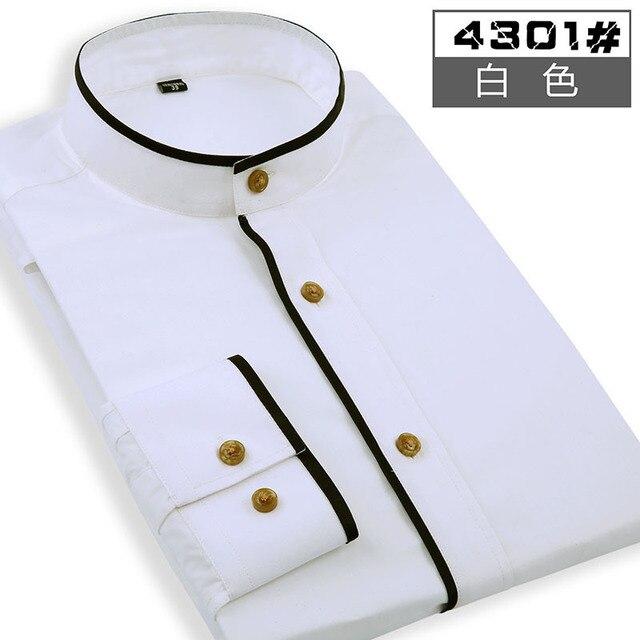 6758ecc4 2017 new arrival men's mandarin collar business solid color shirt cut  standard shirt Explosion main trend wholesales