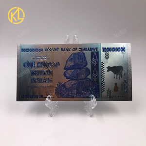 Image 2 - Hot Sale 1000 Pieces Colorful Sivler/Gold Foil Banknote Zimbabwe Silver Banknote With Wood Box For Token fake Money