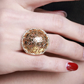 Large hollow design Ring Plated by Rhodium and Gold Setting 3A Clear Cubic Zirconia Fashion Ring