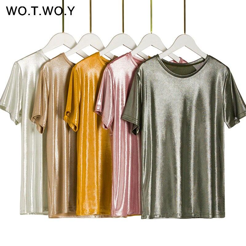 WOTWOY Prata Pressionado T Shirts de Malha 2019 Mulheres Verão Sexy Slim O-pescoço Manga Curta Rosa camiseta Mulher Tees Sólidos harajuku