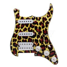 Yibuy Yellow Lopard 3-ply SSH Electric Guitar Loaded Prewired Humburcker Pickup Pickguard Assembly Set
