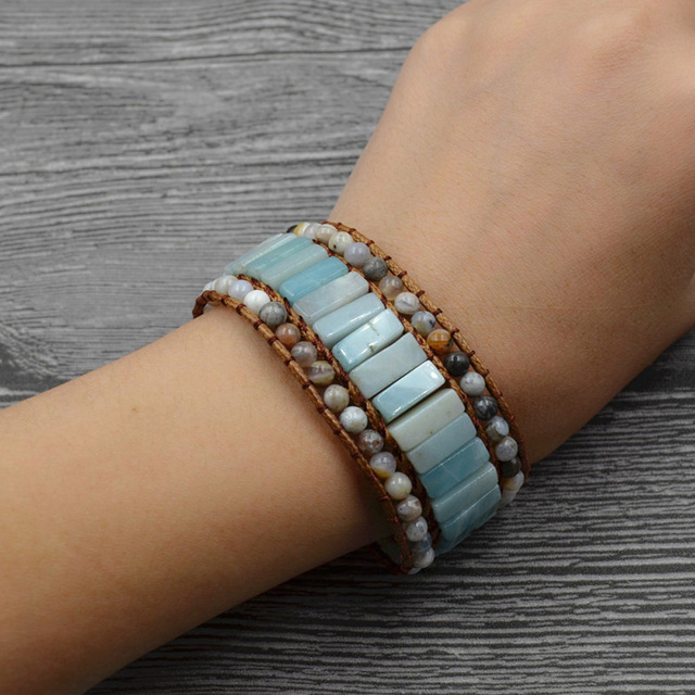 Natural Amazon Stone Multilayer Braided Wax String Bracelet