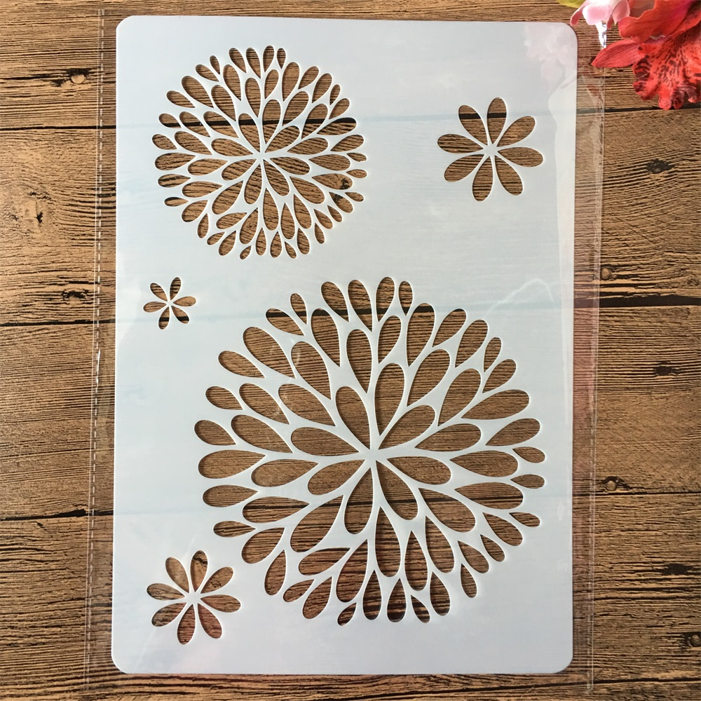 A4 Round Circle Leaves DIY Craft Layering Stencils Painting Scrapbooking Stamping Embossing Album Paper Card Template