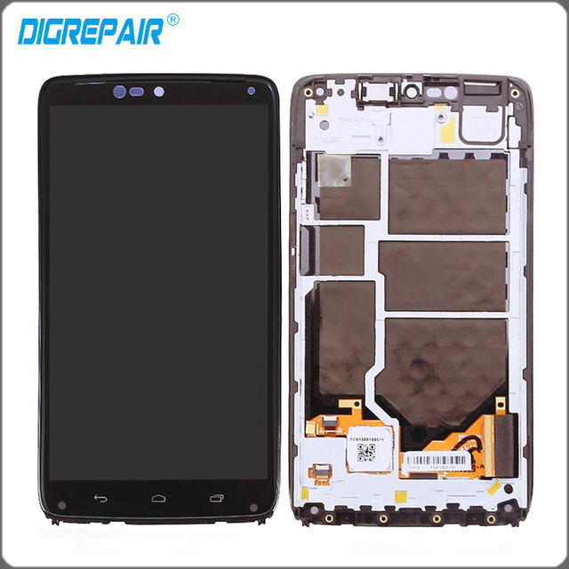 5.2'' inch Black For Motorola Moto Droid Turbo XT1254 XT1225 LCD Display Touch Screen with Digitizer + Bezel Frame Replacements