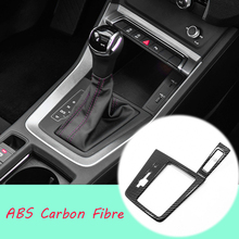 For Audi Q3 2019 2020 ABS Matte/Carbon fibre Car gear shift knob frame panel Decoration Cover Trim Car Styling Accessories 1pcs for audi q3 2019 2020 abs matte carbon fibre car front column sound decoration cover trim car styling accessories 2pcs