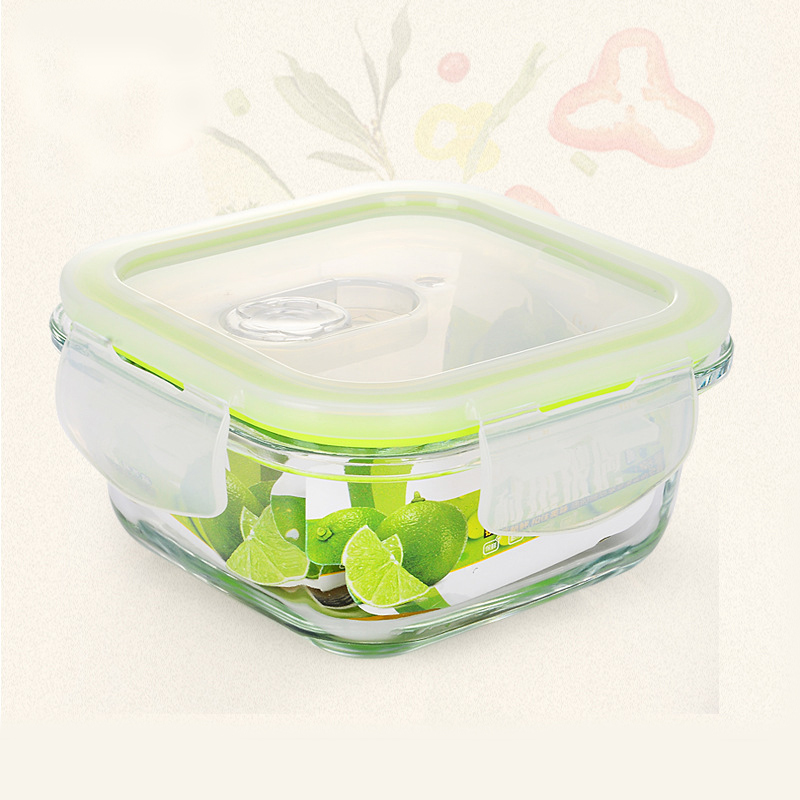 modern square borosilicate glass food container lunch box bento lunch box fruit vegetable food. Black Bedroom Furniture Sets. Home Design Ideas