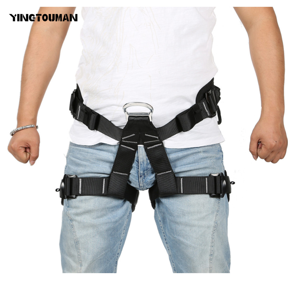 YINGTOUMAN Outdoor Rock Climbing Mountaineering Belt Thicken Harness Rappel Rescue Safety Belt Harnesses Seat Belt 25kn professional carabiner d shape safety master lock outdoor rock climbing buckle equipment