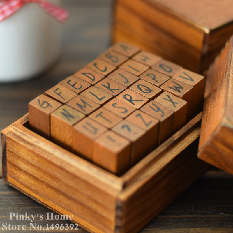 DIY Vintage Wood Rubber Alphabet Stamp Seal Scrapbooking Stamp Diary Ink Pad Stamp Stationery Set french words portraits transparent clear silicone stamp seal diy scrapbooking photo album decorative clear stamp sheets