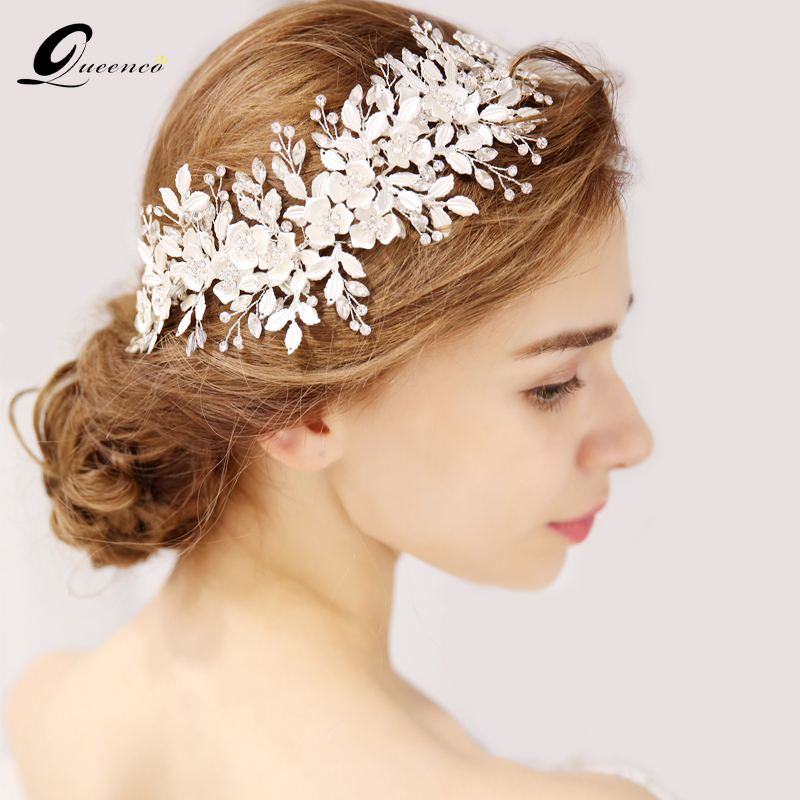 QUEENCO Silver Floral Bridal Headpiece Tiara Wedding Hair Accessories Hair Vine Handmade Headband Hair Jewelry For Bride